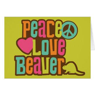 Peace Love Beaver Card
