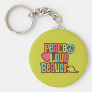 Peace Love Beaver Key Ring