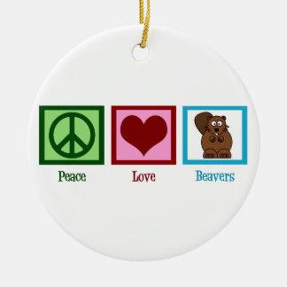 Peace Love Beavers Christmas Ornament