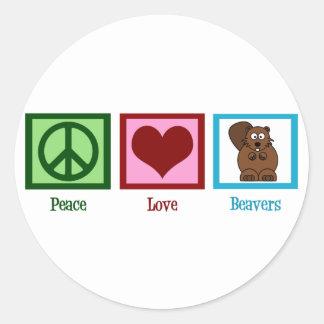 Peace Love Beavers Classic Round Sticker