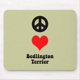 Peace love Bedlington Terrier Mouse Pads