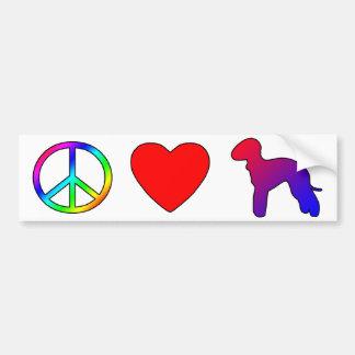 Peace Love Bedlington Terriers Bumper Stickers