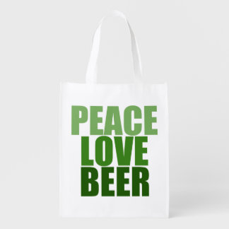 Peace Love Beer Reusable Grocery Bag