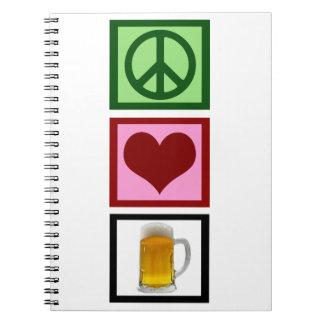Peace Love Beer Spiral Notebook