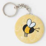 peace love bees basic round button key ring