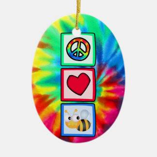 Peace, Love, Bees Double-Sided Oval Ceramic Christmas Ornament