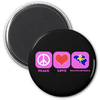 Peace Love Belgium Brussels Refrigerator Magnet