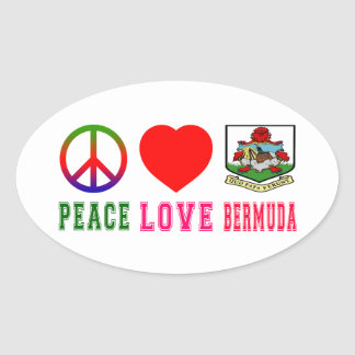 Peace Love Bermuda Oval Sticker