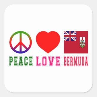 Peace Love Bermuda Square Sticker