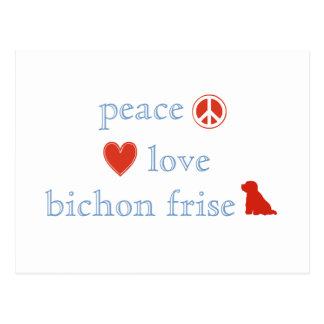 Peace Love Bichon Frise Post Card