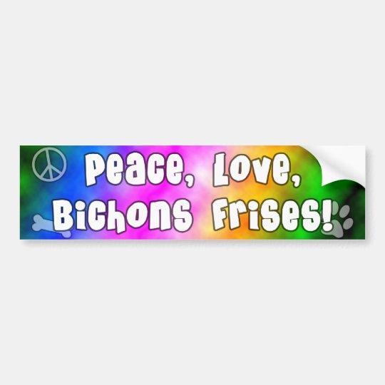 Peace Love Bichons Frises Bumper Sticker