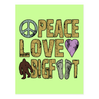 Peace Love Bigfoot Postcard