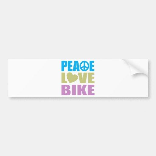 Peace Love Bike Bumper Sticker
