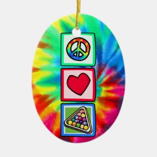 Peace, Love, Billiards Christmas Ornament