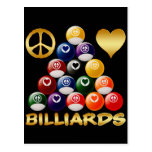 PEACE LOVE BILLIARDS POSTCARD