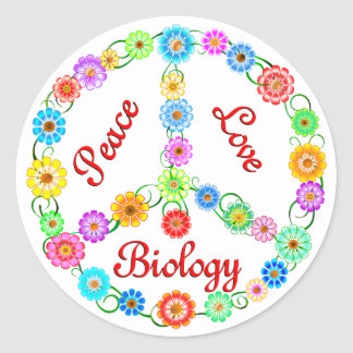 Peace Love Biology Classic Round Sticker