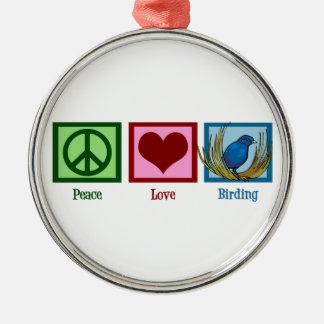Peace Love Birding Christmas Ornament