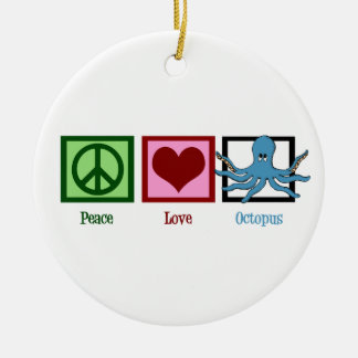 Peace Love Blue Octopus Christmas Ornament
