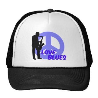 Peace love blues cap