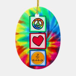 Peace, Love, Bodybuilding Ceramic Oval Decoration