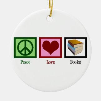 Peace Love Books Christmas Ornament