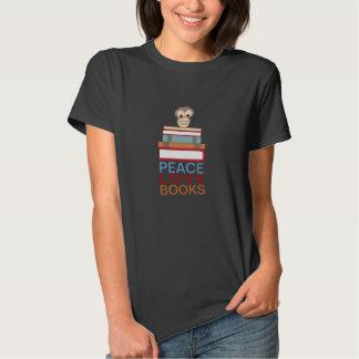 Peace Love Books Cute Owl Library Tshirt
