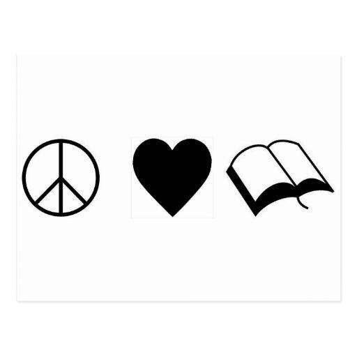 Peace, Love, Books/Reading Postcard