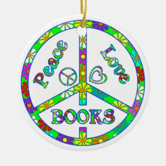 Peace Love Books Round Ceramic Decoration