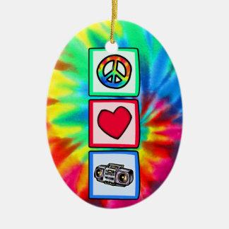 Peace, Love, Boombox Ceramic Oval Decoration
