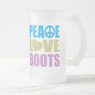 Peace Love Boots Frosted Glass Mug