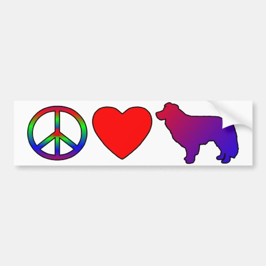 Peace Love Border Collies Bumper Sticker