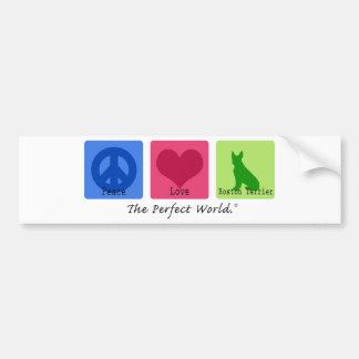Peace Love Boston Terrier Bumper Sticker