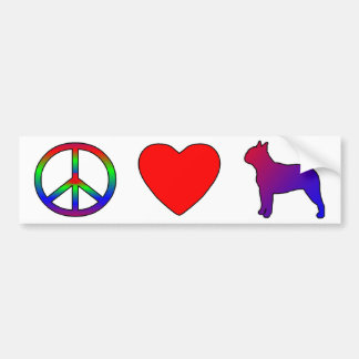 Peace Love Boston Terriers Bumper Sticker