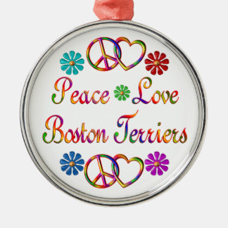 PEACE LOVE BOSTON TERRIERS Silver-Colored ROUND DECORATION