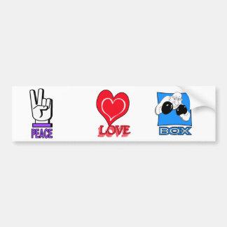 PEACE LOVE BOX BUMPER STICKER