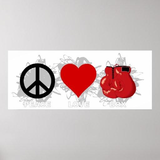 Peace Love Box Emblem Print