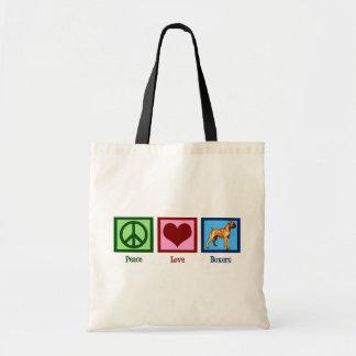 Peace Love Boxers Tote Bag