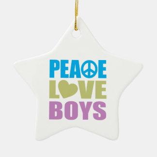 Peace Love Boys Christmas Ornament