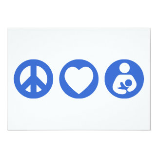 Peace Love Breastfeeding 13 Cm X 18 Cm Invitation Card