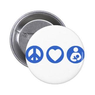 Peace Love Breastfeeding 6 Cm Round Badge