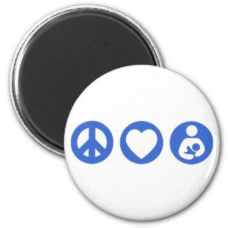 Peace Love Breastfeeding 6 Cm Round Magnet