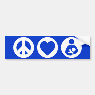Peace Love Breastfeeding Bumper Sticker