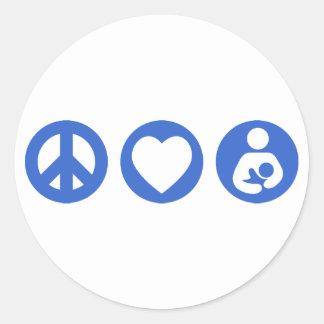 Peace Love Breastfeeding Classic Round Sticker