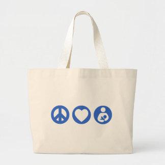 Peace Love Breastfeeding Large Tote Bag