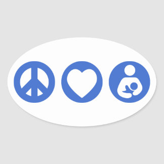 Peace Love Breastfeeding Oval Sticker