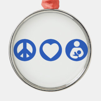 Peace Love Breastfeeding Silver-Colored Round Decoration
