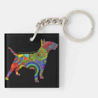 """Peace Love & Bull Terriers"" Pop Art Keychain"