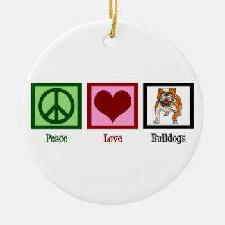 Peace Love Bulldogs Christmas Ornament