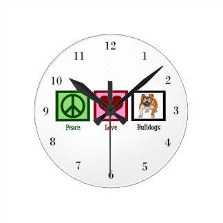 Peace Love Bulldogs Round Clock