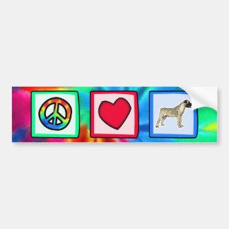 Peace, Love, Bullmastiffs Bumper Sticker